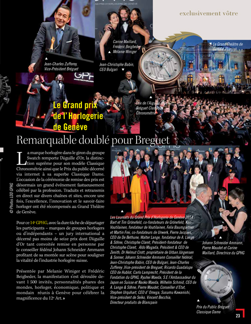 GPHG 2014 Exclusif magazine