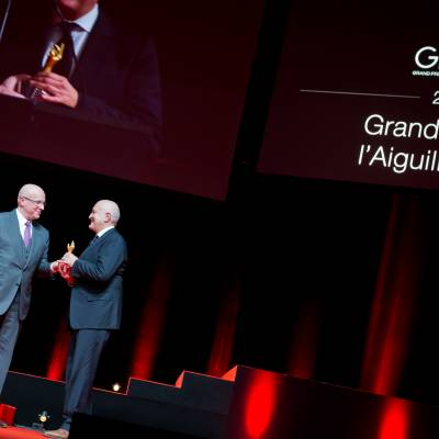 Stephane Linder, member of theJury 2013, and Michele Sofisti, CEO of Girard- Perregaux