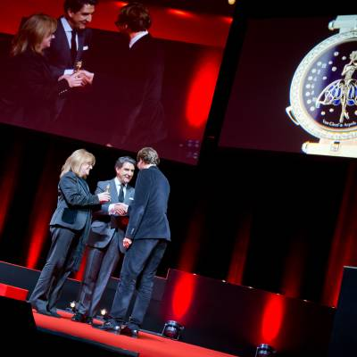 Paola Pujia and Carlos Alonso, member of the Jury 2013, with Nicolas Bos, CEO of Van Cleef & Arpels
