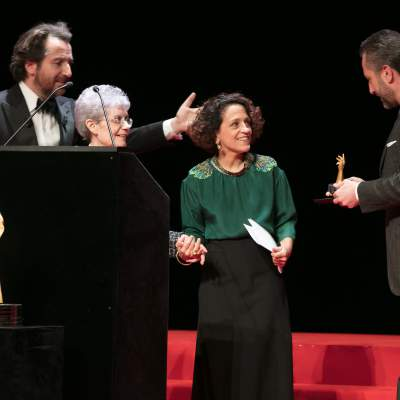 Edouard Baer (MC), Suzanne Rohr and Anita Porchet (winners of Special Jury Prize 2017) and Aurel Bacs (President of the jury of the GPHG 2017)