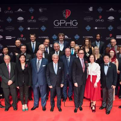 Jury members of the GPHG 17 with Carlo Lamprecht (President of the GPHG Foundation)