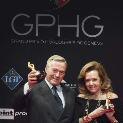 Karl-Friedrich Scheufele and Caroline Scheufele (Co-Presidents of Chopard, winners of the « Aiguille d'Or » Grand Prix 2017)