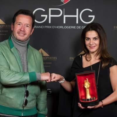 "Chabi Nouri, CEO of Piaget, winner of the ""Aiguille d'Or"" Grand Prix and François-Henry Bennahmias, CEO of Audemars Piguet"