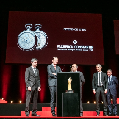 Micke Pintus, Yannick Pintus, Jean-Luc Perrin (watchmakers of Vacheron Constantin), pictured with Christian Selmoni (Artistic director of Vacheron Constantin, winner of the Special Jury Prize) and Aurel Bacs (President of the jury)