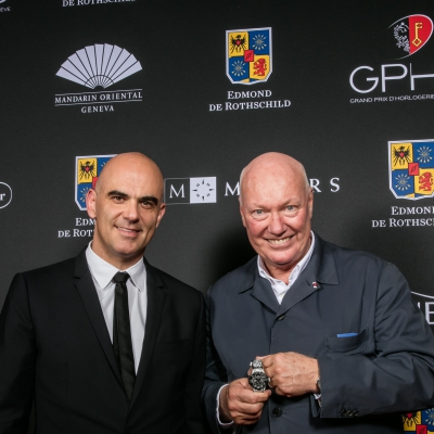 Alain Berset (Federal Councillor) and Jean-Claude Biver (President of the Watch Division of the LVMH Group and Chairman of Hublot, winner of the Ladies' Watch Prize 2015)