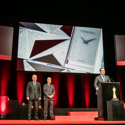 François Bennahmias (CEO of Audemars Piguet, winner of the Jewellery Watch Prize 2015) with Claude Sfeir and Abdul Hamied Seddiqi (jury members)