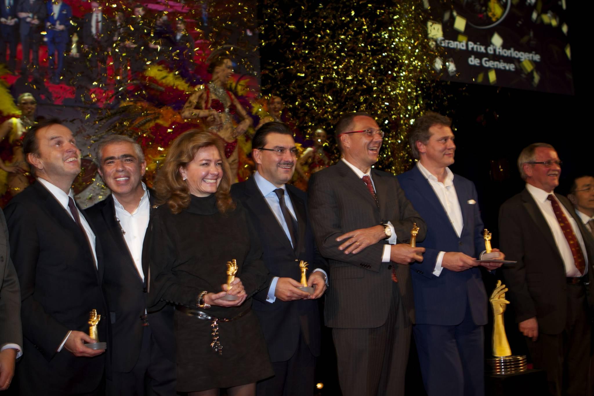 Stanislas de Quercise (CEO, Van Cleef & Arpels), Laurent Picciotto (Chronopassion), Caroline Scheufele (Co-présidente, Chopard), Juan-Carlos Torrès (CEO, Vacheron Constantin), Jean-Christophe Babin (CEO, TAG Heuer), François-Paul Journe (CEO, Montres Journe), Sven Andersen (AHCI), cérémonie 2010
