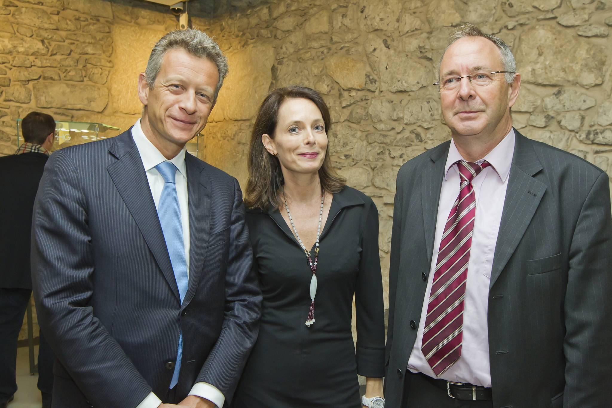 Benoît Clivio, Directeur de la Banque Privée Edmond de Rothschild (BPER) et Valérie Boscat, Directrice communication de la BPER et Daniel Favre, Président de TimeLab, 8 novembre 2011