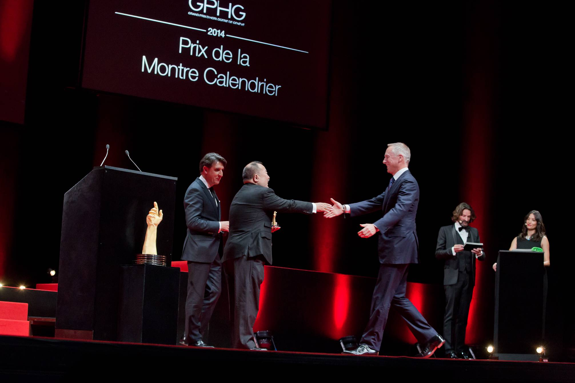 Carlos Alonso and Takeshi Matsuyama (jury members), Wilhelm Schmid (CEO of A. Lange & Söhne, winner of the Calendar Watch Prize 2014)