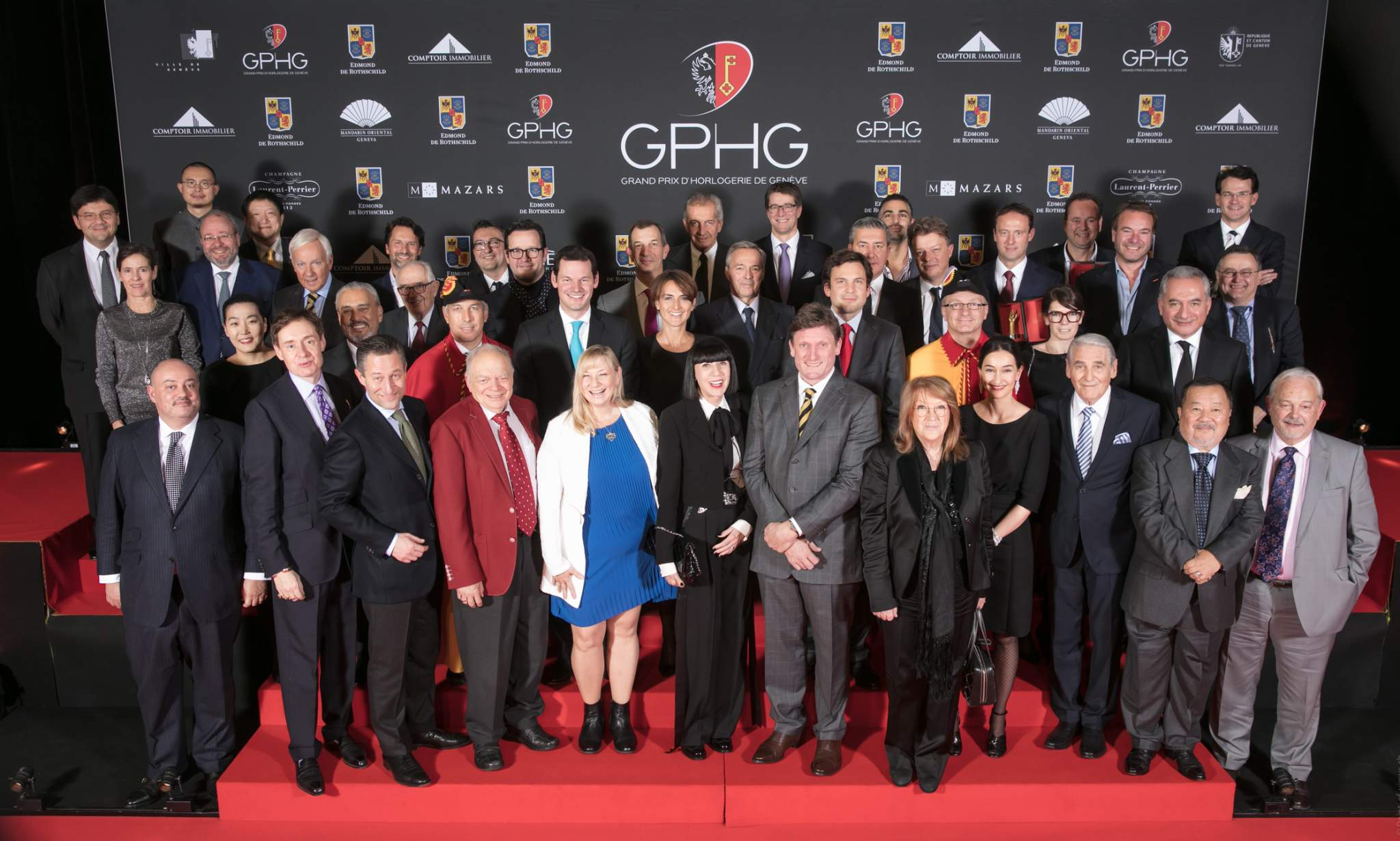 Winners, jury members, political authorities and board members of the Foundation of the GPHG at the prize-giving ceremony of the GPHG 16