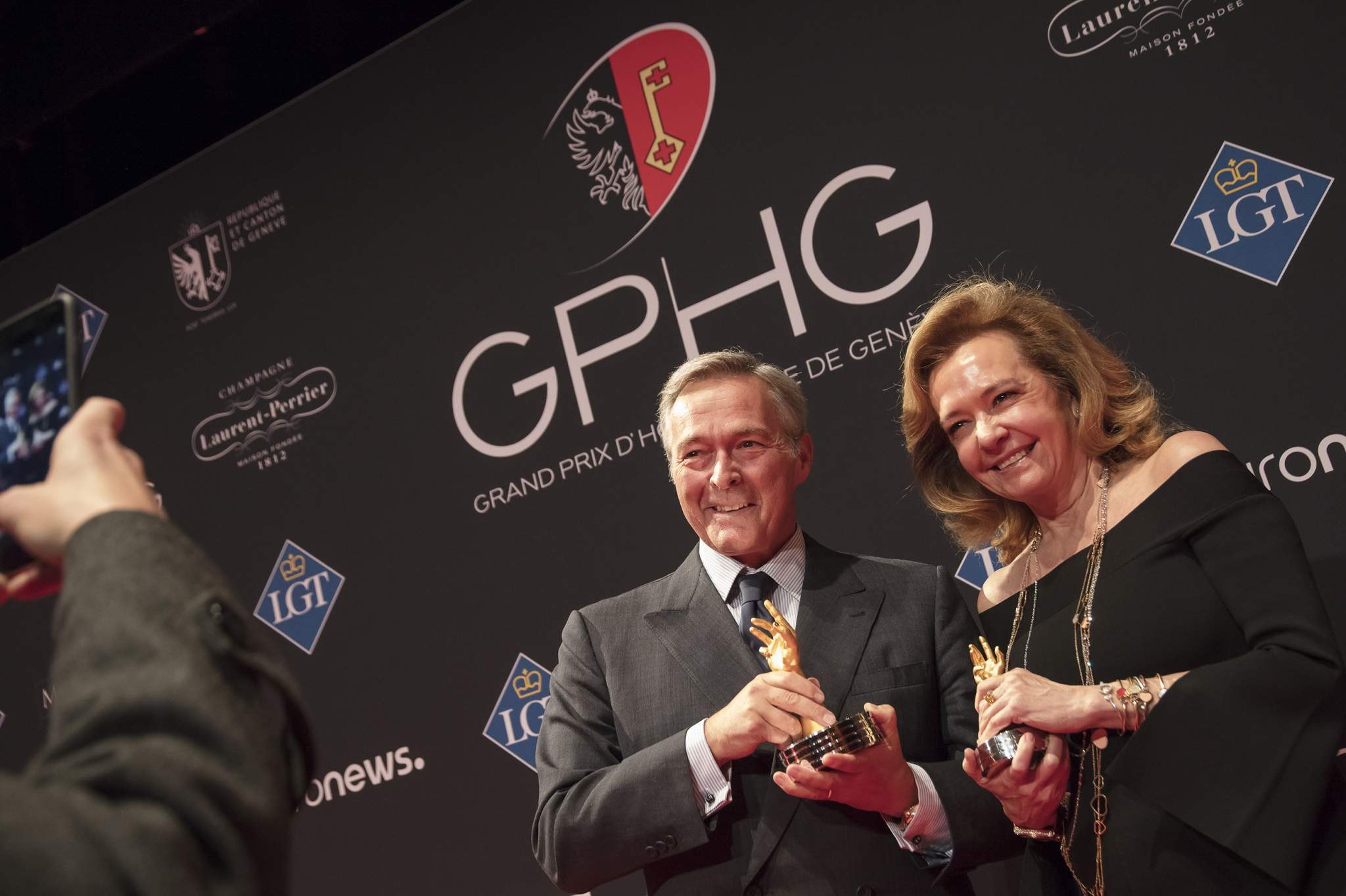 "Karl-Friedrich Scheufele and Caroline Scheufele (Co-Presidents of Chopard, winners of the ""Aiguille d'Or"" Grand Prix 2017 and the Jewellery Watch Prize 2017)"