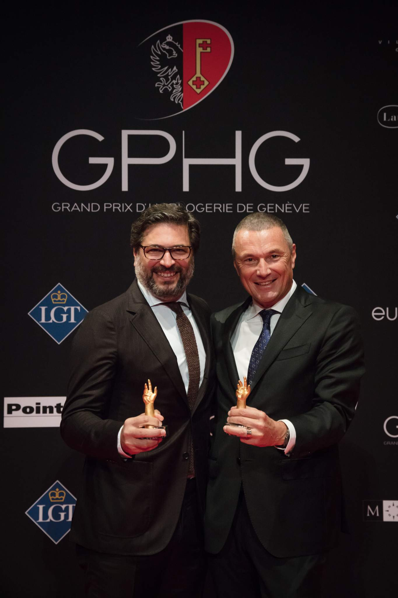 Guido Terreni (General Manager Horlogerie de Bvlgari) and Jean-Christophe Babin (CEO of Bvlgari), winners of the Tourbillon and Escapement Watch Prize 2017 and of the Men's Watch Prize 2017