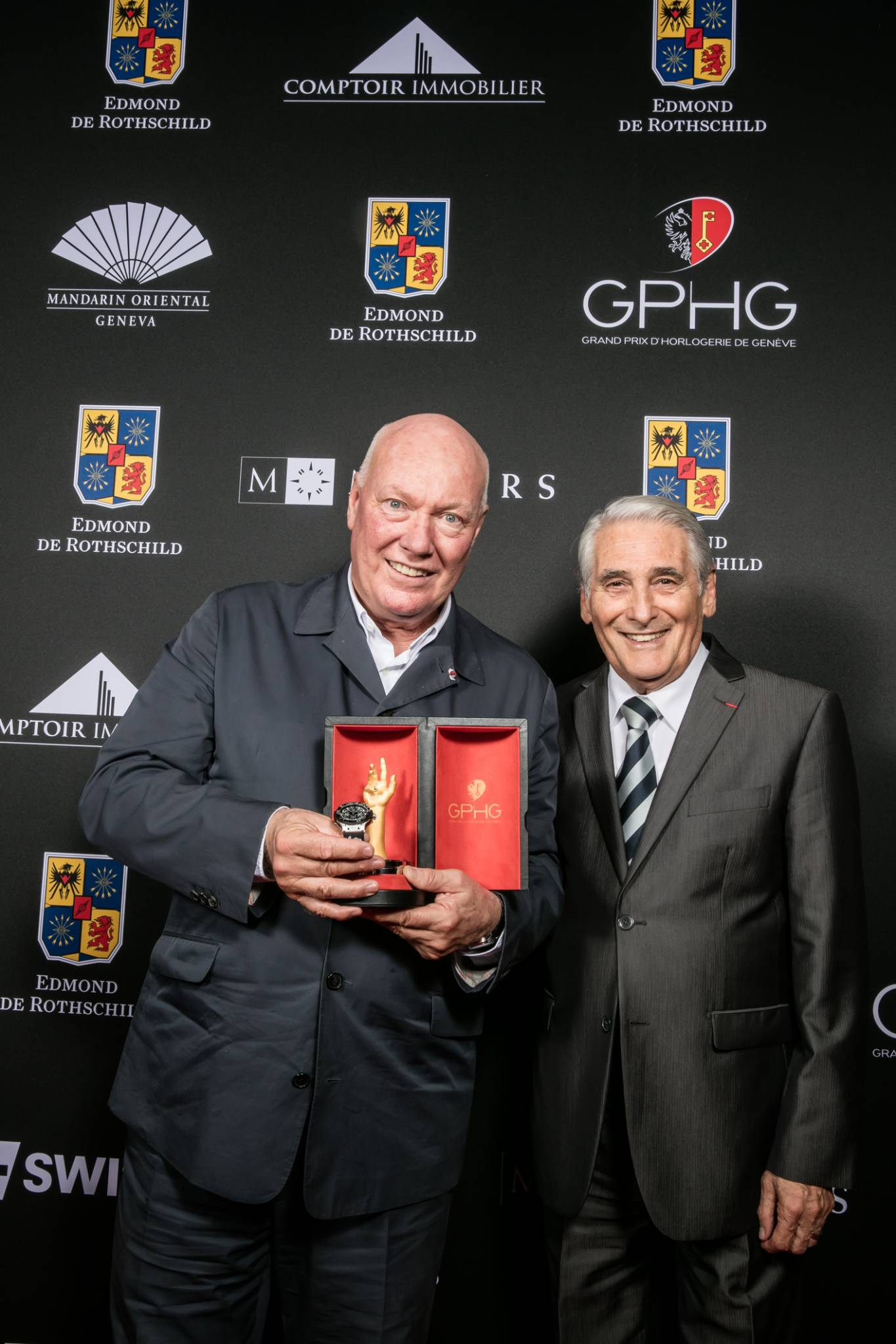 Jean-Claude Biver (President of the Watch Division of the LVMH Group and Chairman of Hublot, winner of the Ladies' Watch Prize 2015) and Carlo Lamprecht (President of the Foundation of the GPHG)