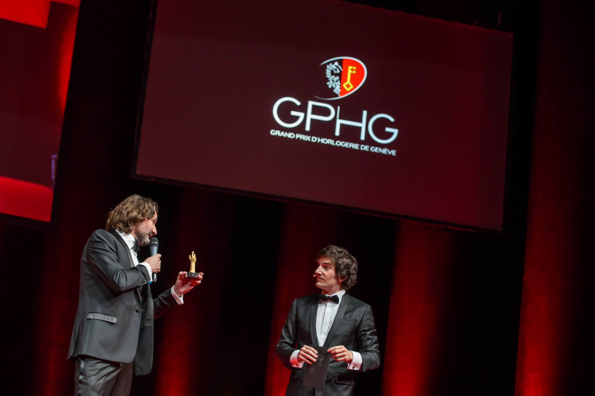 Frédéric Beigbeder and Gaspard Proust (MCs of the prize-giving ceremony of the GPHG 2015)