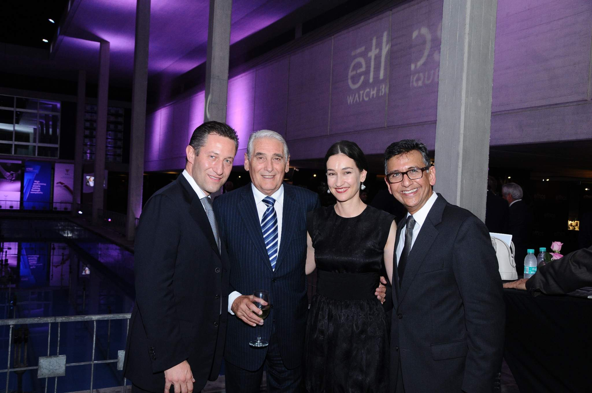 Aurel Bacs (President of the jury of the GPHG), Carlo Lamprecht (President of the Foundation of the GPHG), Carine Maillard (Director of the Foundation of the GPHG) and Yasho Saboo (Ethos Watches) at the inauguration of the GPHG 2014 exhibition in New Delhi