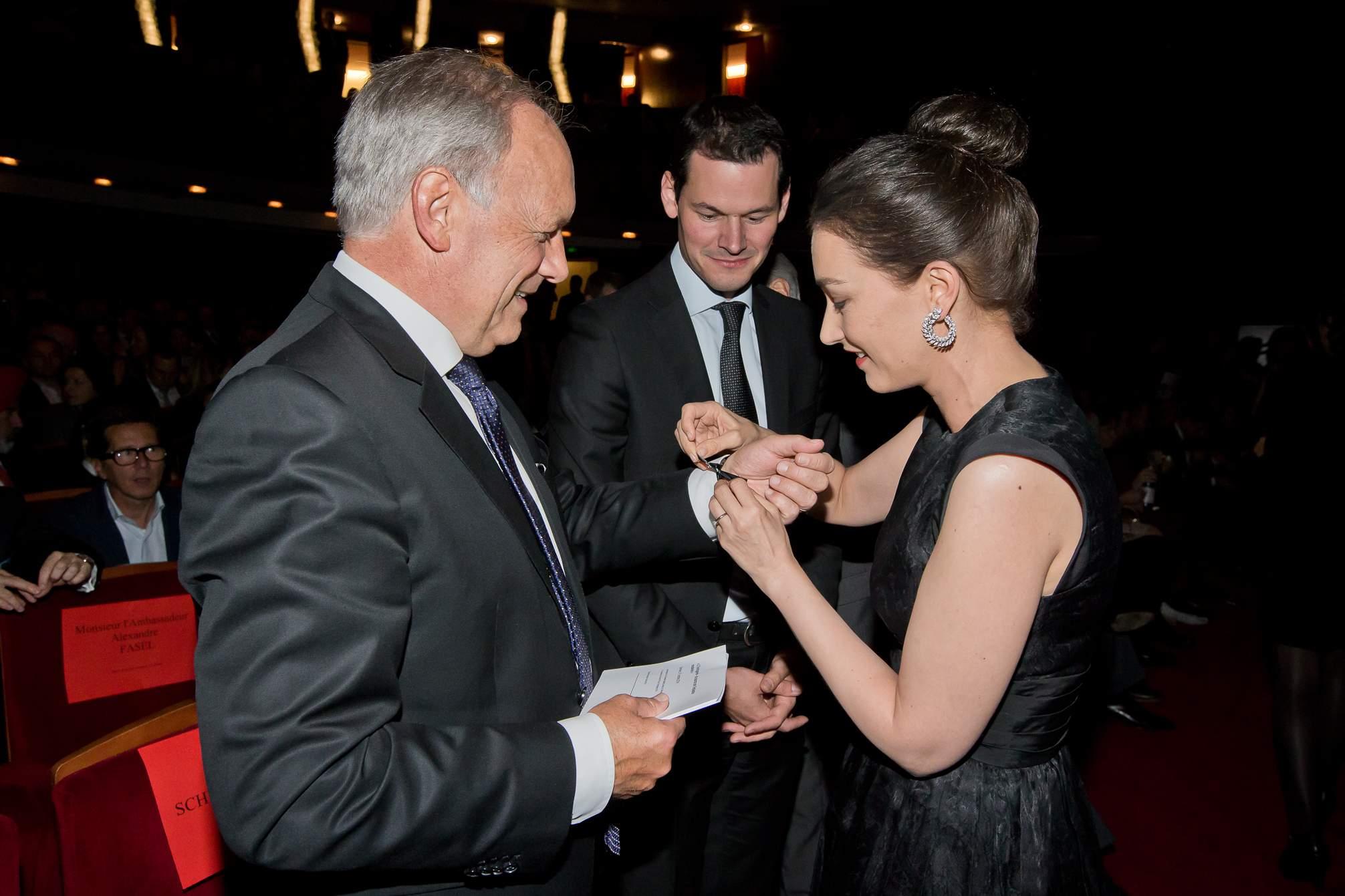Johann Schneider-Ammann (Federal councillor), Pierre Maudet (State councillor) and Carine Maillard (Director of the GPHG Foundation)