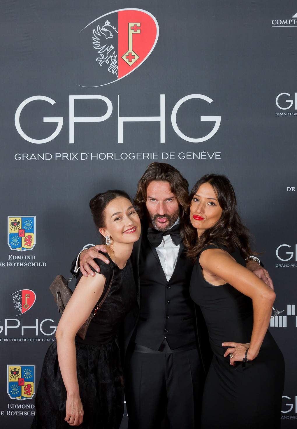 Carine (Director of the Foundation of the GPHG), Frédéric Beigbeder and Melanie Winiger (MCs of the prize-giving ceremony of the GPHG 2014)