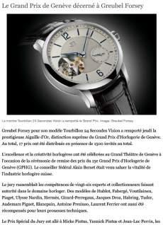 tdg - Le Grand Prix de Genève décerné à Greubel Forsey