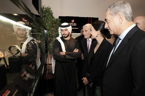 HH Sheikh Majid Bin Mohammed Bin Rashid Al Maktoun avec Carlo Lamprecht et Carine Maillard, président et directrice de la Fondation du GPHG.