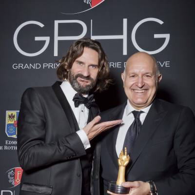 Frédéric Beigbeder and Michele Sofisti, CEO of Girard-Perregaux, winner of the « Aiguille d'Or » Grand Prix 2013