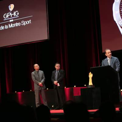 David Chang, Moritz Elsaesser (jury members) and Mario Peserico (CEO of Eberhard & Co, winner of the Sports Watch Prize 2016)