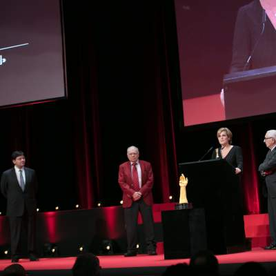 Sean Li, Antoine Simonin (jury members), Valérie Servageon (Marketing director of TAG Heuer) and Jack Heuer (Honorary Chairman of TAG Heuer, winner of the Revival Watch Prize)