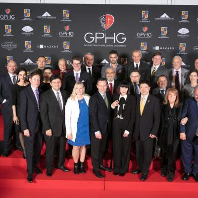 Jury members of the GPHG 2016 with Carine Maillard (Director of the Foundation of the GPHG)