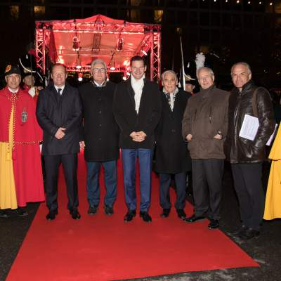 Sami Kanaan (Administrativ Councillor), Serge Dal Busco, Luc Barthassat and Pierre Maudet (State Councillors), Carlo Lamprecht (President of the GPHG Foundation), Prince Philipp von und zu Liechtenstein (Chairman of LGT), Rémy Pagani (Mayor of the City of Geneva)