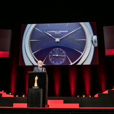 Laurent Ferrier (Fondateur de Laurent Ferrier, marque lauréate du Prix Révélation Horlogère 2015), avec Elizabeth Doerr (membre du jury)