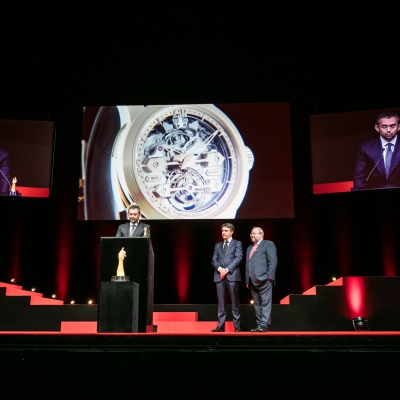Stefano Macaluso (Product Development & Design Director of Girard-Perregaux, winner of the Striking Watch Prize 2015) with Carlos Alonso and René Beyer (jury members)