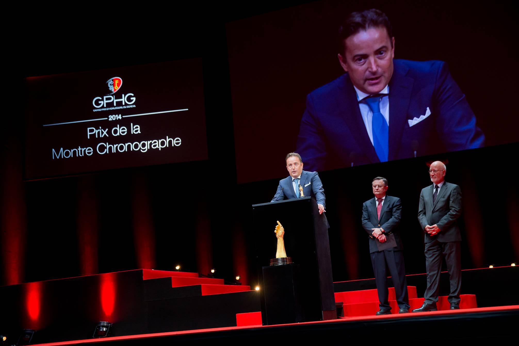 Pierre Jacques (CEO de De Bethune, marque lauréate du Prix de la Montre Chronographe 2014), Moritz Elsaesser et Jean-Philippe Arm (membres du jury)
