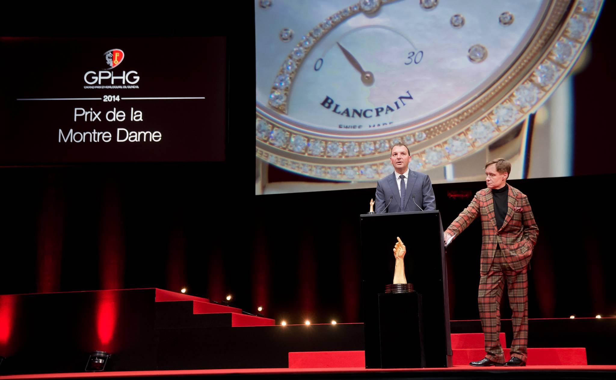 Vincent Becchia (Directeur produit de Blancpain, marque lauréate du Prix de la Montre Dame 2014) et Nick Foulkes (membre du jury)