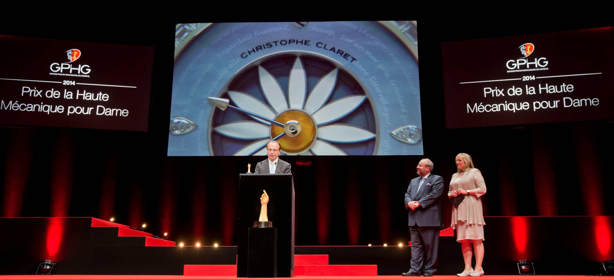 Christophe Claret (Fondateur et président de Christophe Claret, marque lauréate du Prix de la Haute Mécanique pour Dame 2014), René Beyer et Elizabeth Doerr (membres du jury)