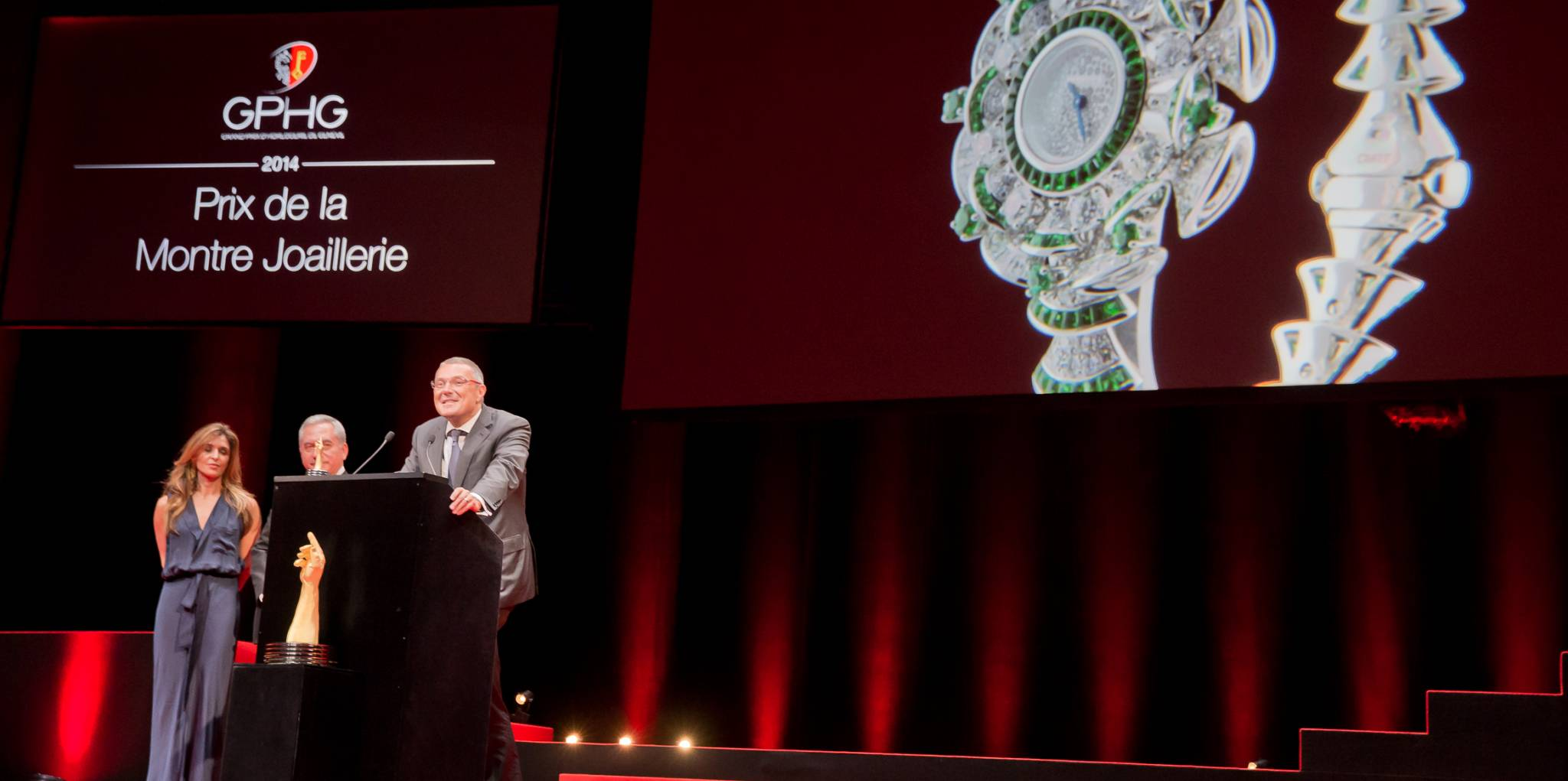 Nazanin Lankarani and Claude Sfeir (jury members), Jean-Christophe Babin (CEO of Bulgari, winner of the Jewellery Watch Prize 2014)