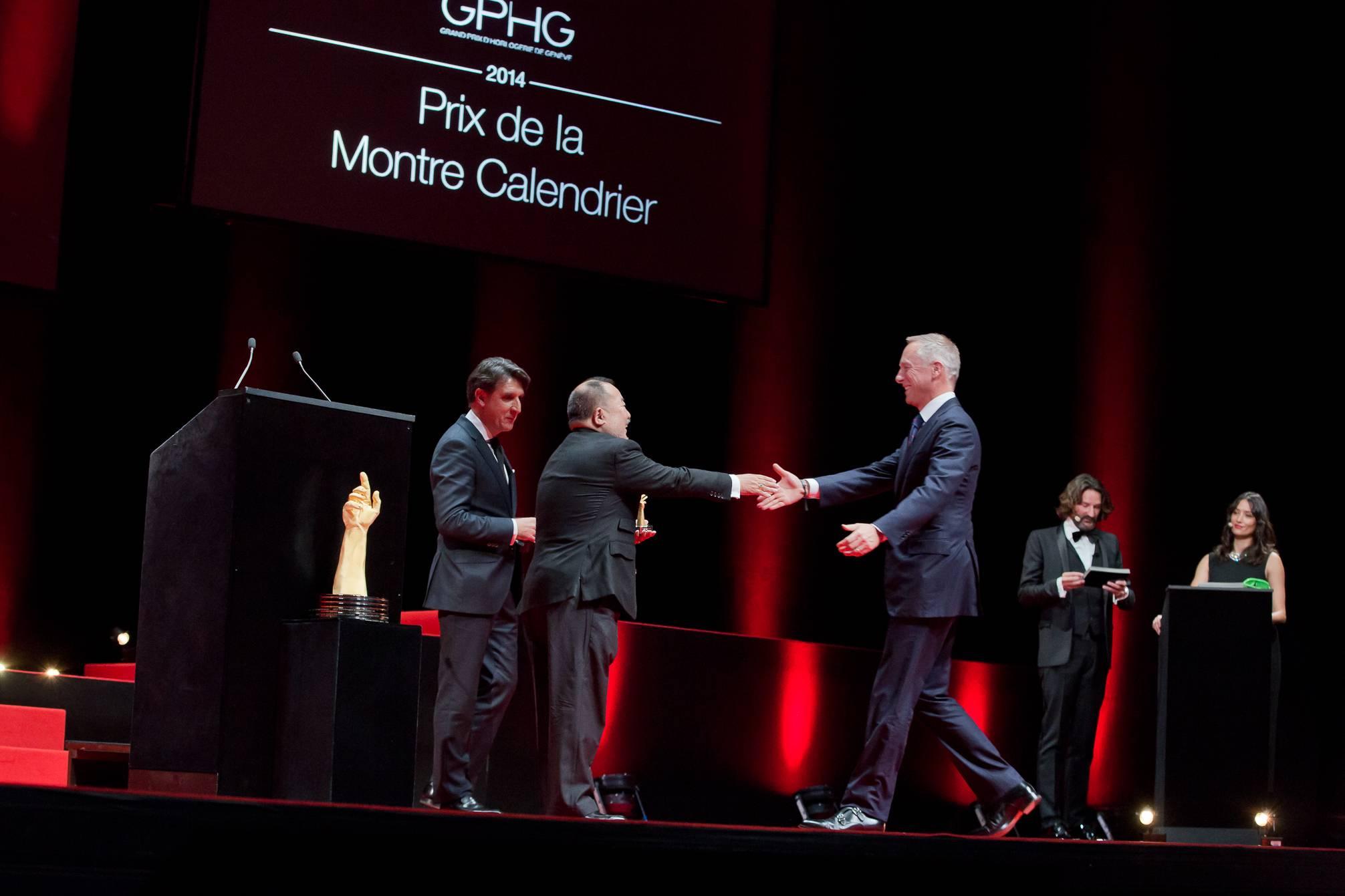 Carlos Alonso et Takeshi Matsuyama (membres du jury), Wilhelm Schmid (CEO de A. Lange & Söhne, marque lauréate du Prix de la Montre Calendrier 2014)