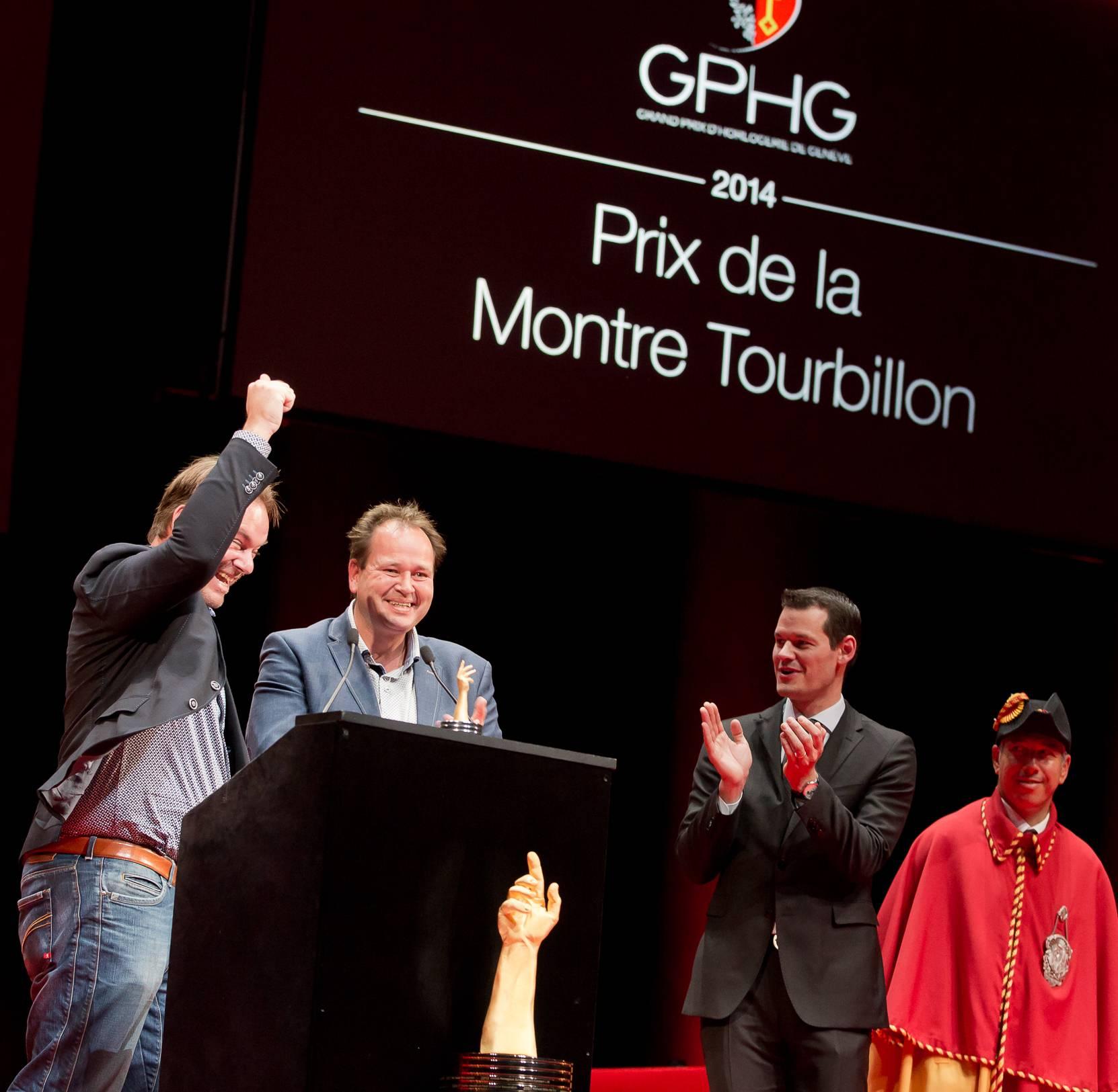 Bart et Tim Grönefeld (Co-fondateurs de Grönefeld, marque lauréate du Prix de la Montre Tourbillon 2014) et Pierre Maudet (Conseiller d'Etat)