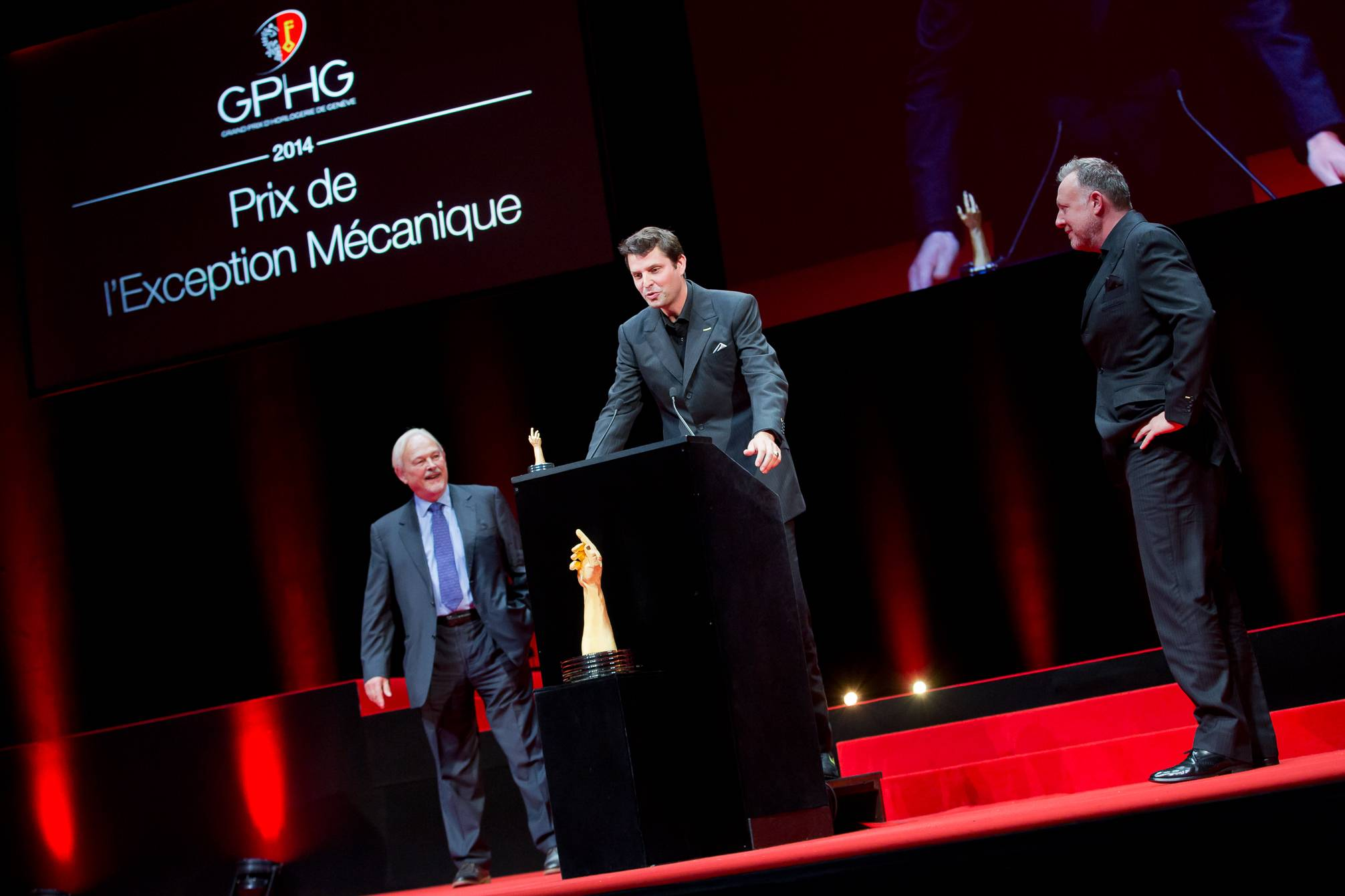 Philippe Dufour (jury member), Felix Baumgartner and Martin Frei (Co-founders of Urwerk, winner of the Mechanical Exception Watch Prize 2014)
