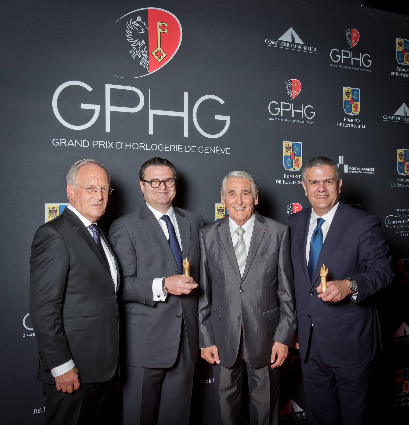 Johann Schneider-Ammann (Federal councillor), Aldo Magada (President & CEO of Zenith, winner of the Sports Watch Prize 2014), Carlo Lamprecht (President of the Foundation of the GPHG) and Ricardo Guadalupe (CEO of Hublot, winner of the Striking Watch Prize 2014)
