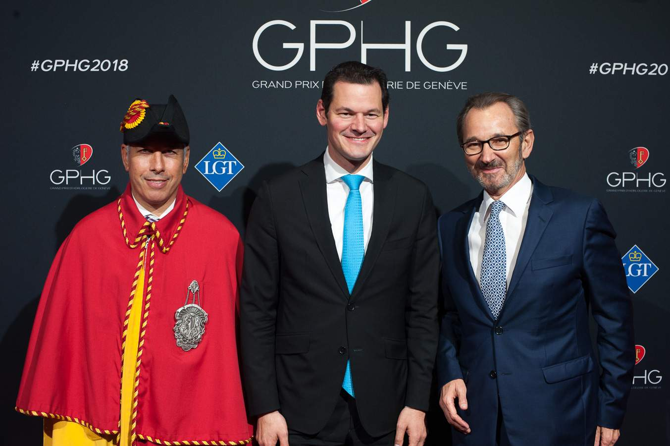 Pierre Maudet, Geneva State Concillor and Raymond Loretan, president of the GPHG Foundation