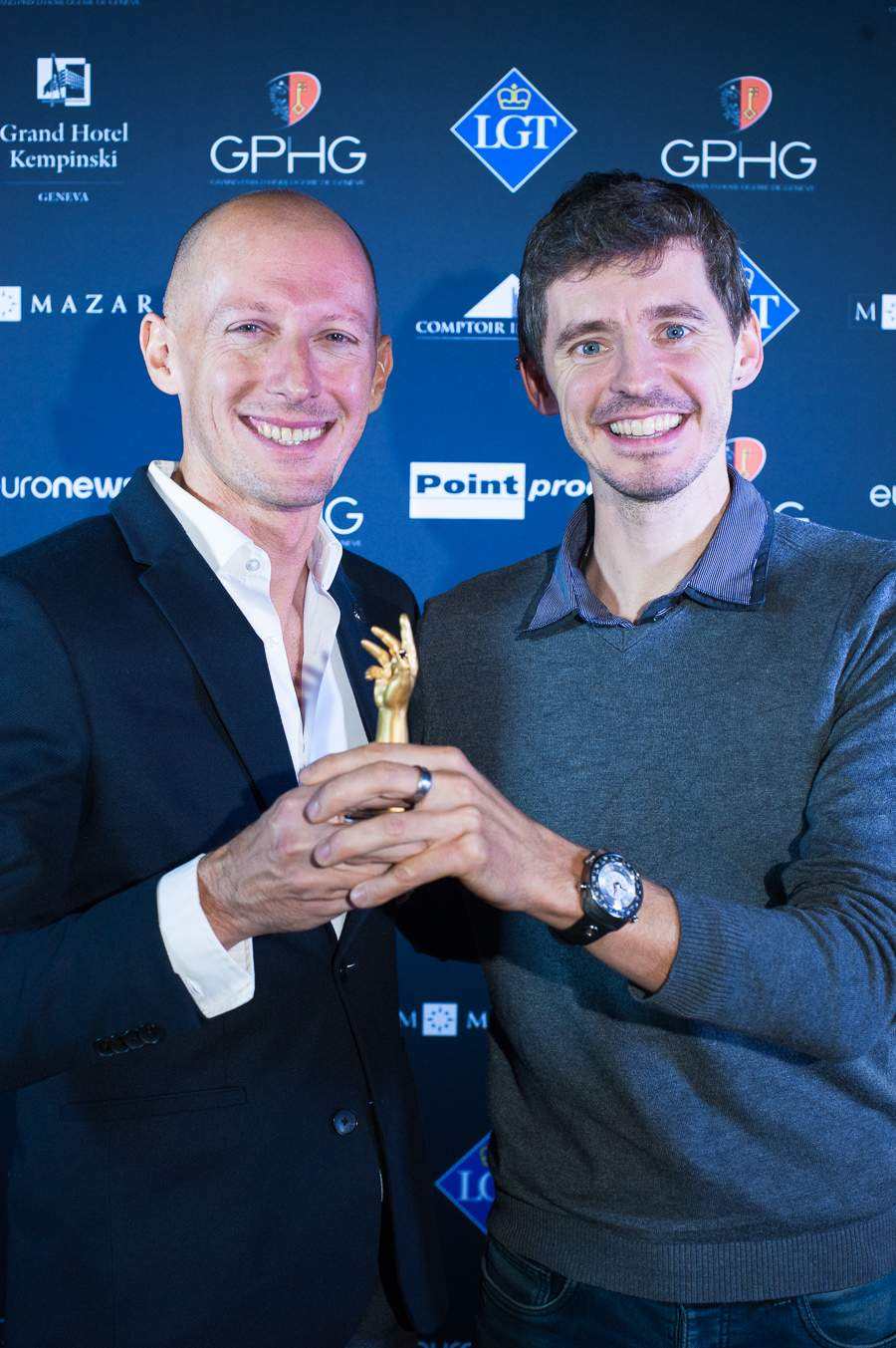 Marco Borraccino,Co-founder and CEO of Singer Reimagined, winner of the Chronograph Watch Prize 2018 and Nicolas Wiederrecht, Co-director Agenhor SA