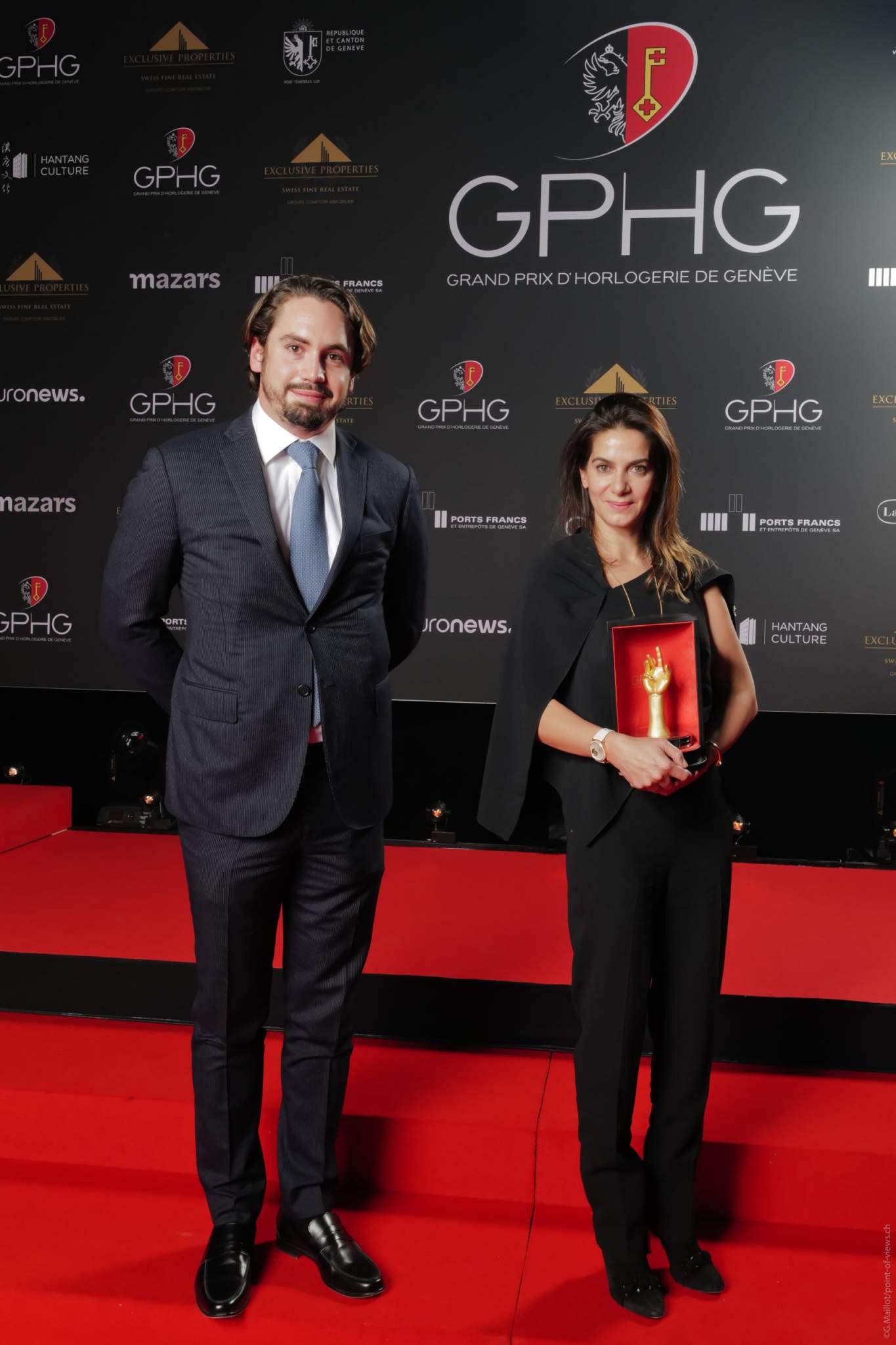 Chabi Nouri, CEO de Piaget, lauréat du Grand Prix de l'Aiguille d'Or et Quentin Epiney, Membre de la Direction Générale du groupe Comptoir Immobilier et Responsable de la division prestige du groupe