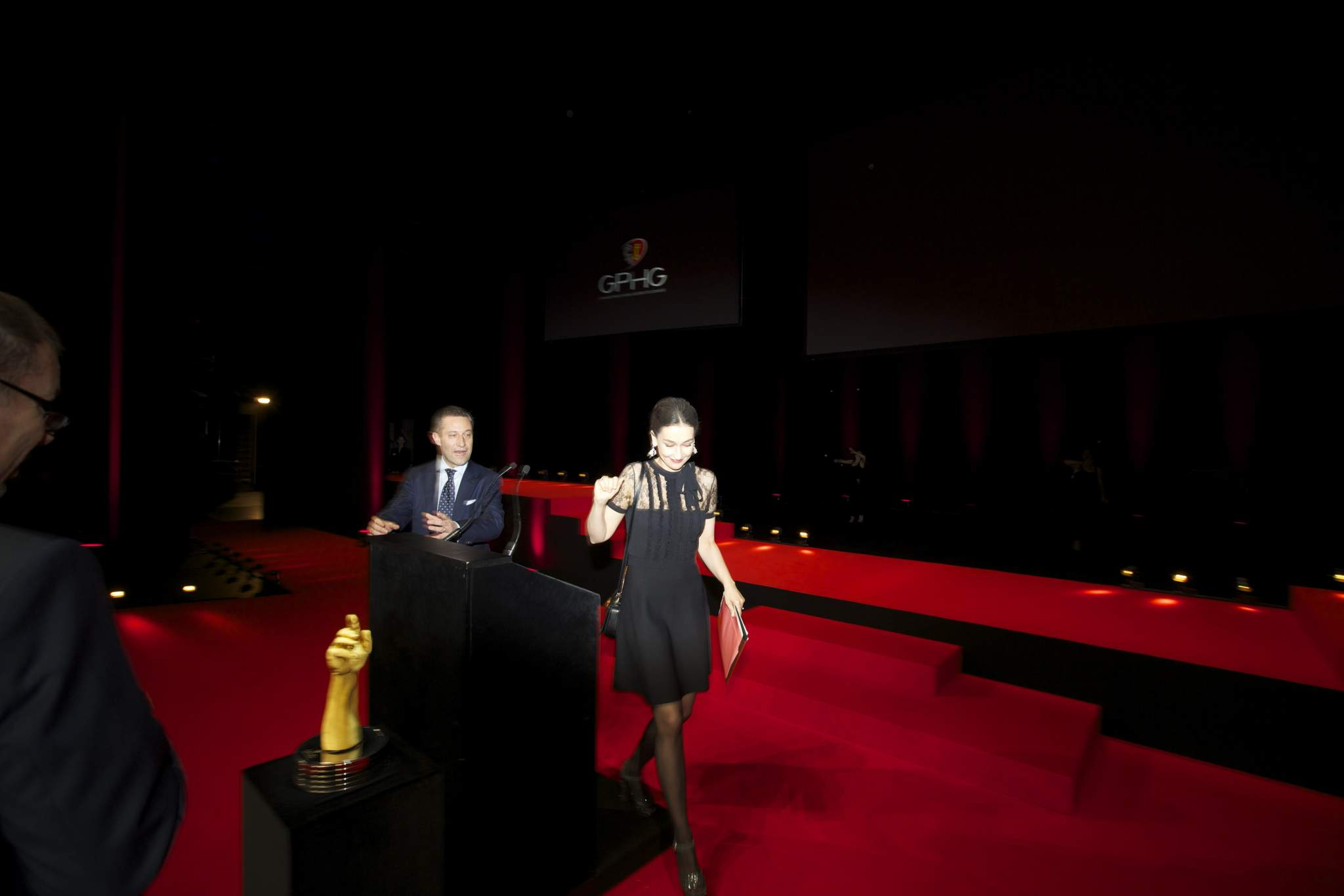 Aurel Bacs (President of the jury of the GPHG) and Carine Maillard (Director of the Foundation of the GPHG)