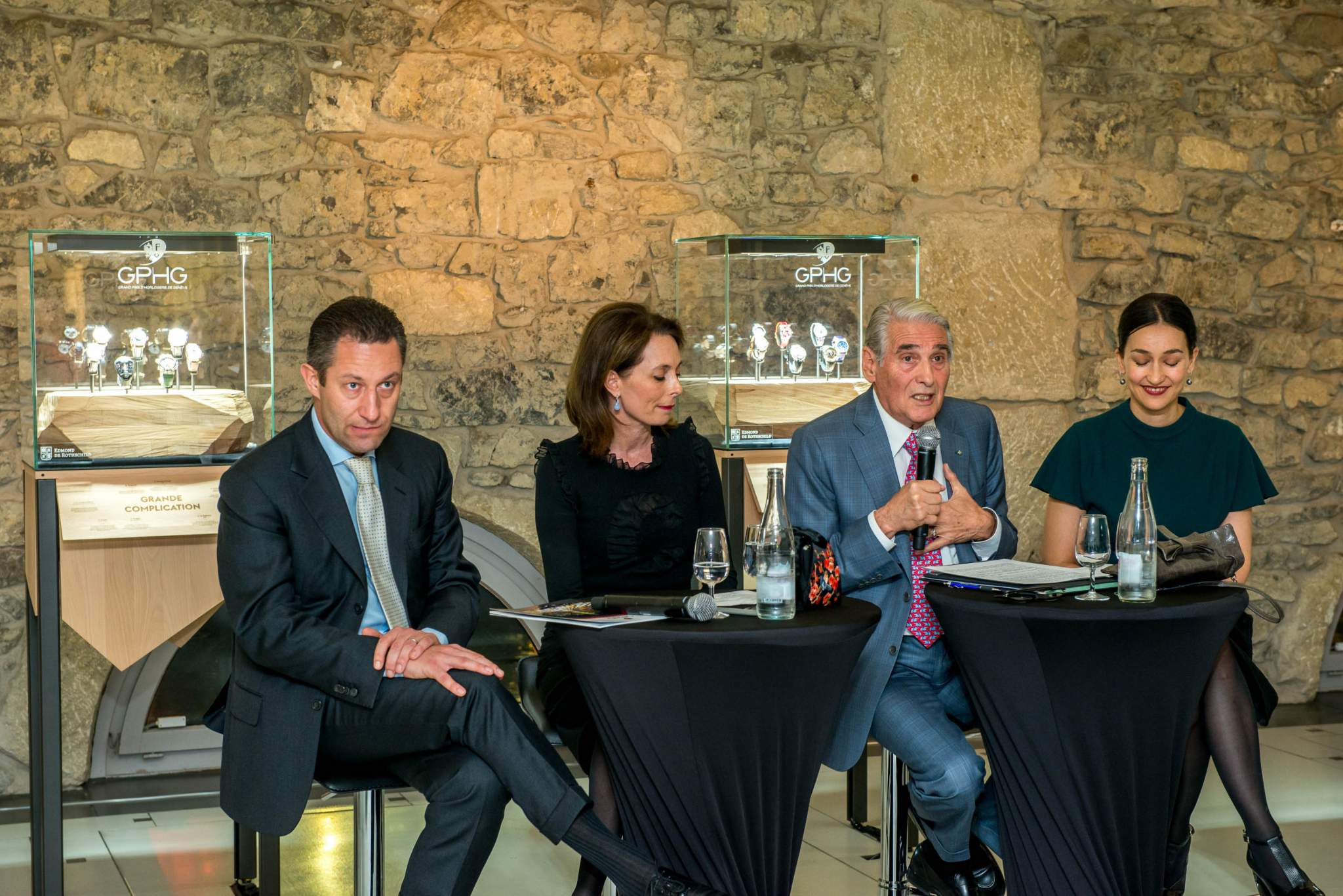 Aurel Bacs (President of the jury of the GPHG), Valérie Boscat (Communication Director of Edmond de Rothschild Group), Carlo Lamprecht (President of the Foundation of the GPHG) and Carine Maillard (Director of the Foundation of the GPHG) at the exhibition of the GPHG 2013 in Geneva