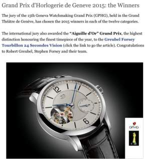 time and watches - Grand Prix d'Horlogerie de Geneve 2015: the Winners