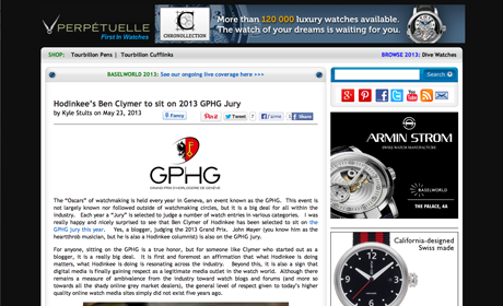 blog.perpetuelle.com - Hodinkee's Ben Clymer to sit on 2013 GPHG Jury